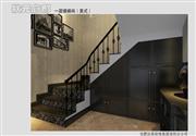 状元千亿国际电脑版样板间——豪华美式装修一层楼梯间效果图