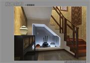 状元优发娱乐手机pt客户端样板间——豪华中式装修一层楼梯间效果图